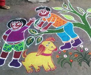 Rangoli:  kanum pongal kolam