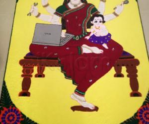 Rangoli: multi tasking lady - year 2014