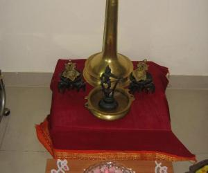 Rangoli: Flower bowl on a rangoli