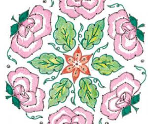 Rangoli: pink roses