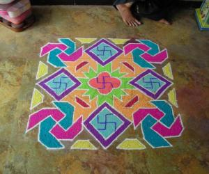 rangoli made on tulsi vivah day