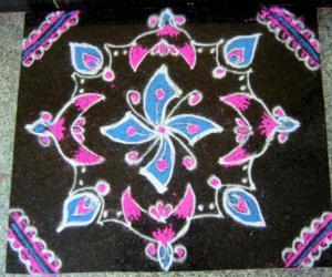 Rangoli: Pink and Blue kolam