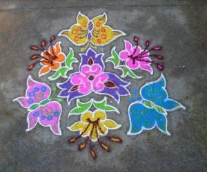 Rangoli: Butterfly+Flower