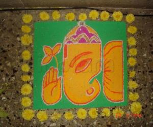 Rangoli: happy vinayaka chaturthi