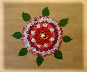 Rangoli: Rangoli with flowers