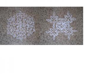 Collage of  2  simple Suzhi kolams