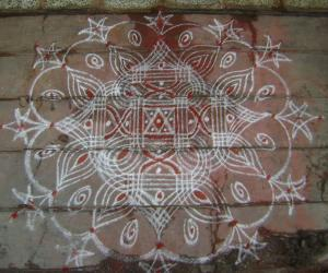 Rangoli: kolam for  aadi month beginning