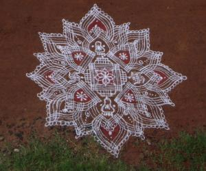 Navarathri mud floor kolam for Judy mam