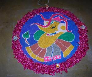 This is my competition vali rangoli and I won the 1st prize for this!!!!!!!
