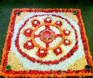 Rangoli: Flower arrangement