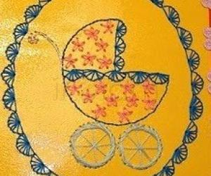Rangoli: Embroidary greeting card.
