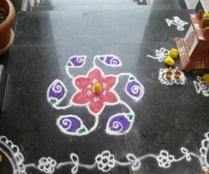 Rangoli i did on my first Varalakshmi pooja