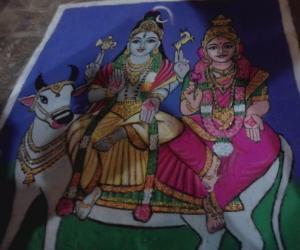Big temple rangoli-1000 year celebration
