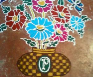 Rangoli: rangoli drawn in pothys contest
