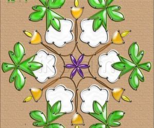 Spring Garden Kolams - Cotton flower
