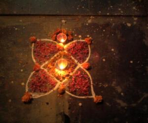 Diwali Rangoli, decorated with flowers