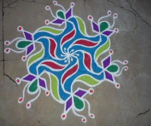 Tear drop rangoli
