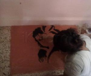step-wise progress of Radha -Krishna rangoli