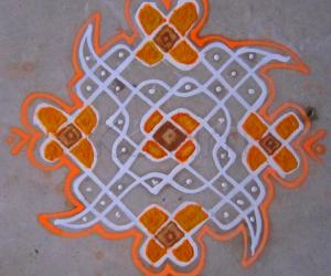 Chikku kolam on Floor