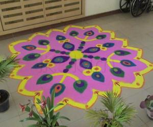 apartment kolam on Diwali