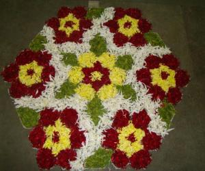 Dotted  Rangoli with Flowers
