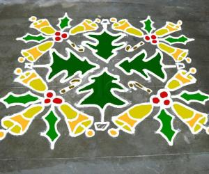 coloured christmas kolam
