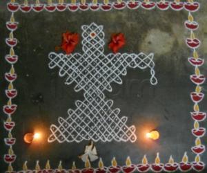 Rangoli: Karthigai Special Kolam - Sikku Kolam - 59