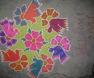 Rangoli: Birds and flowers
