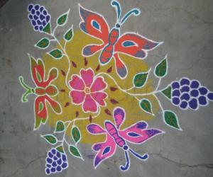 Rangoli: Butterflies & Grapes.