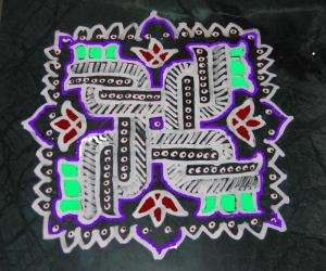 wet maavu kolam with PC coloring