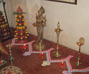 Marapachi Decoration and Deepa kolam for Navarathri