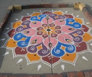 diwali rangoli at LA temple - for contest