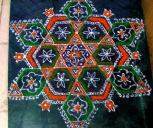 Star kolam with new decoration