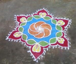 Bright margazhi kolam
