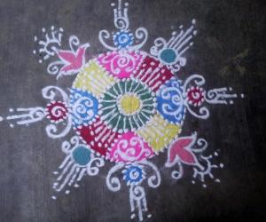 my first colour rangoli