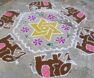 Elephant design - Margazhi kolam