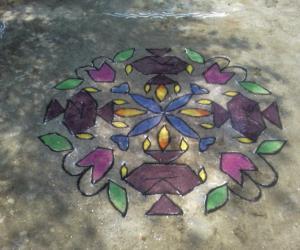 Rangoli: Diwali deepams rangoli part 1