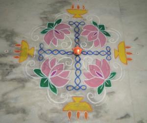 Rangoli near Puja