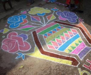 Rangoli: flower pots