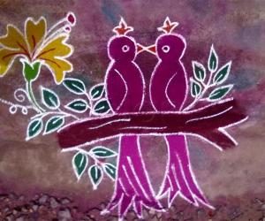 Rangoli: Valentine's day rangoli birds