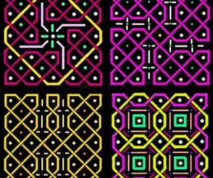 Rangoli: Four patterns with 5x5 dots