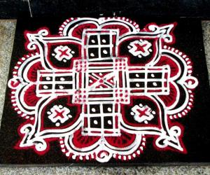 Red and white Padikolam