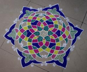 Rangoli: Basic design no. 1 on the floor