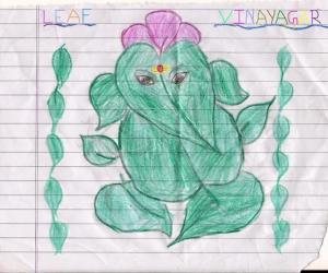 Rangoli: Leaf Vinayagar Drawing