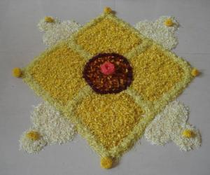 Pookolam with left over flowers
