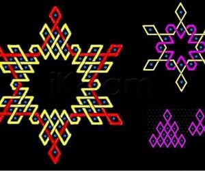 Triangular arrangement of rhombuses in hexagonal patterns