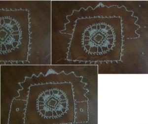 My first kolam with rice grain
