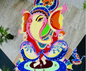 Diwali Rangoli : Celebration of colours through Ganesha