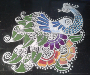 Rangoli: Peacock in leaves n flowers