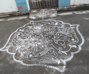 Fish within Swan kolam